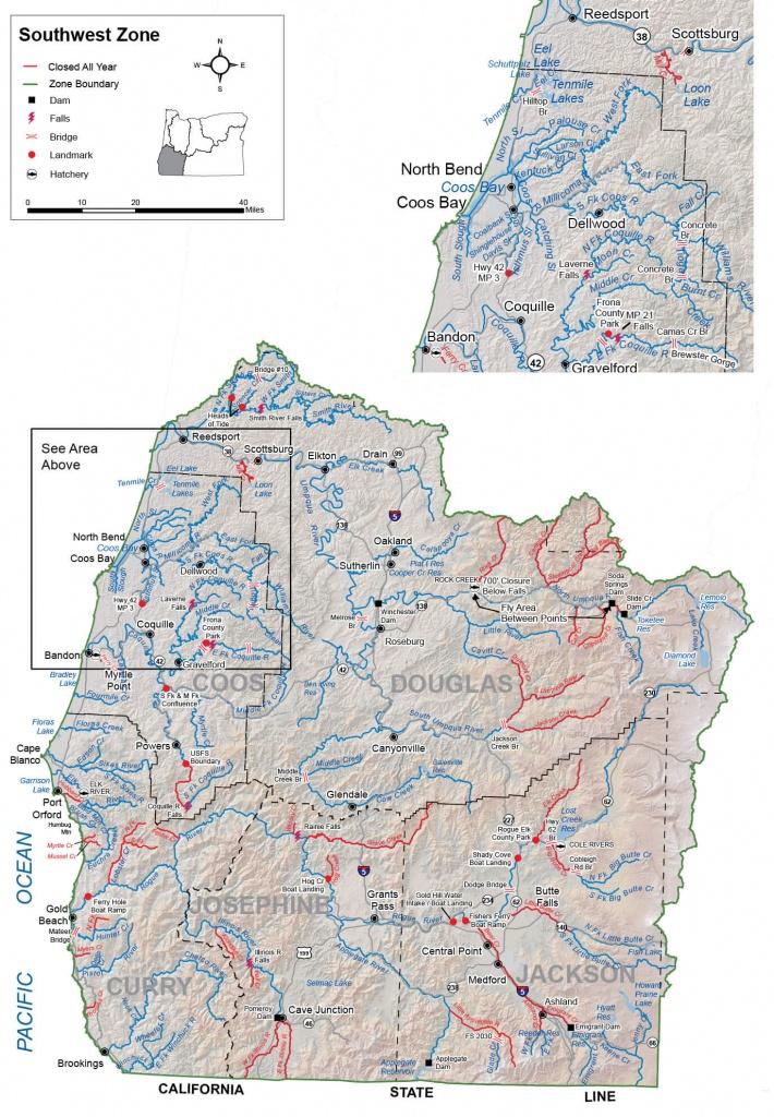 Southwest Zone Regulations & Map | Oregon Fishing Regulations – 2019 - California Fishing Regulations Map