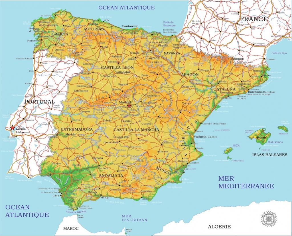 Spain Vector Map Printable Admin Topo 01 Adobe Illustrator Full Editable - Printable Map Of Spain Pdf