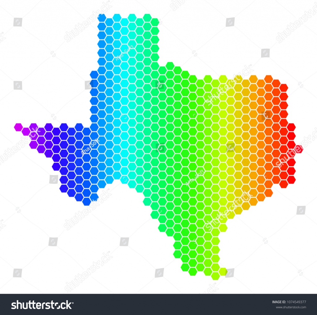 Spectrum Hexagonal Texas Map Vector Geographic Stock Vector (Royalty - Geographic Id Map Texas