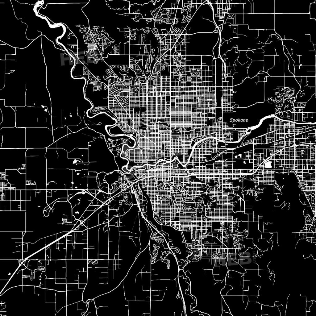 Spokane, Washington, Downtown Map, Dark   Hebstreits Sketches - Downtown Spokane Map Printable