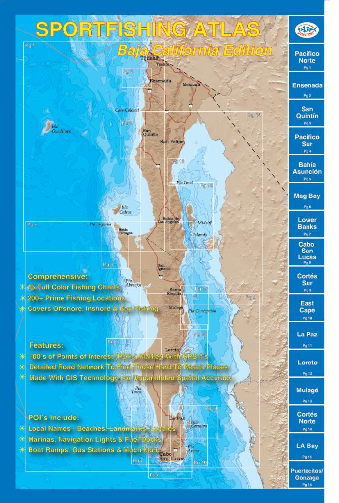 Sportfishing Atlas Baja California Edition - Baja Directions - Southern California Fishing Spots Map