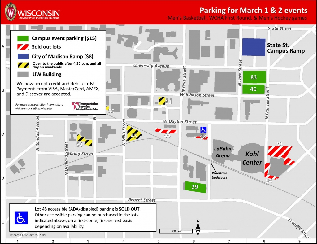 Sporting Events March 1-3, 2019 – Transportation Services – Uw–Madison - Printable Uw Madison Campus Map