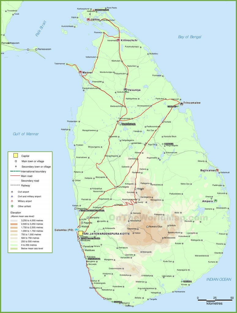 Sri Lanka Physical Map - Printable Map Of Sri Lanka