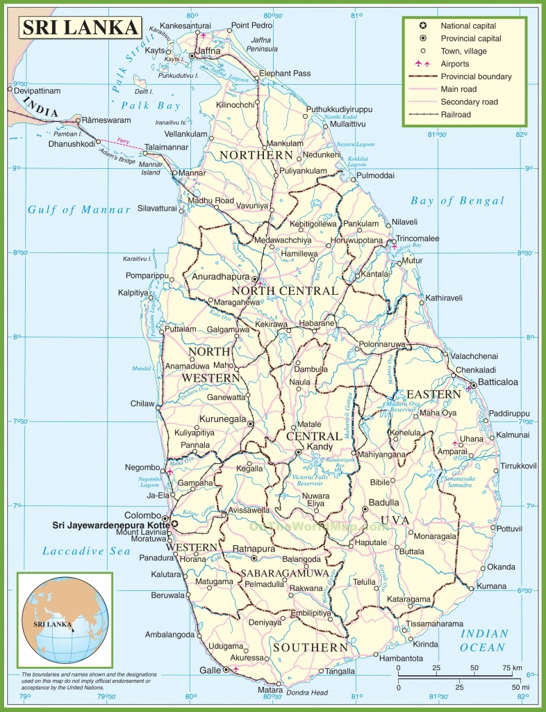 Sri Lanka Political Map - Printable Map Of Sri Lanka