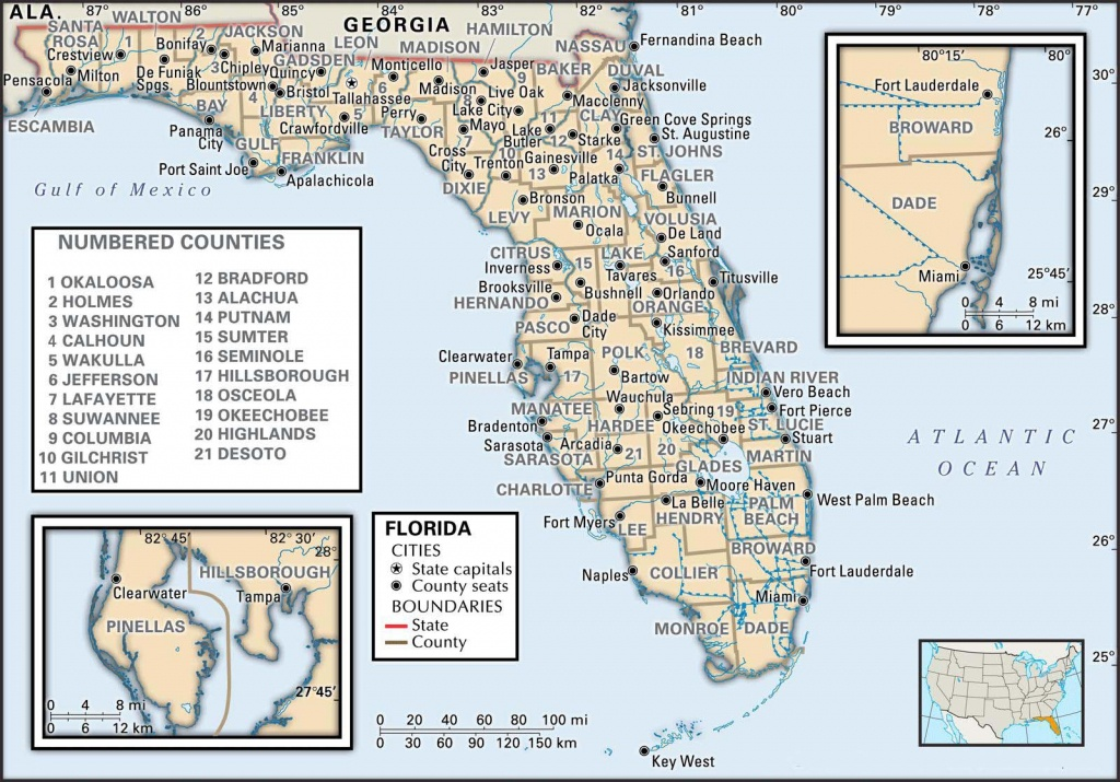 State And County Maps Of Florida - Gulf Coast Cities In Florida Map