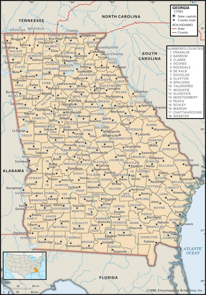 State And County Maps Of Georgia - Road Map Of Georgia And Florida