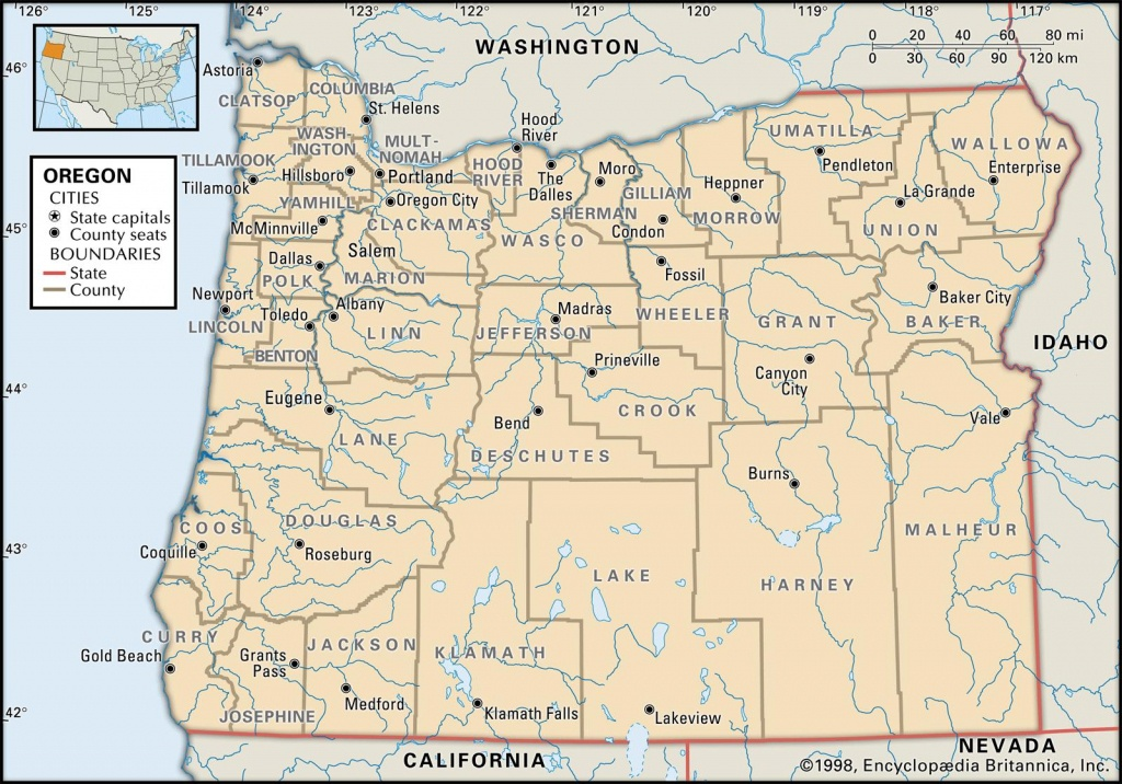 State And County Maps Of Oregon - Washington State Counties Map Printable