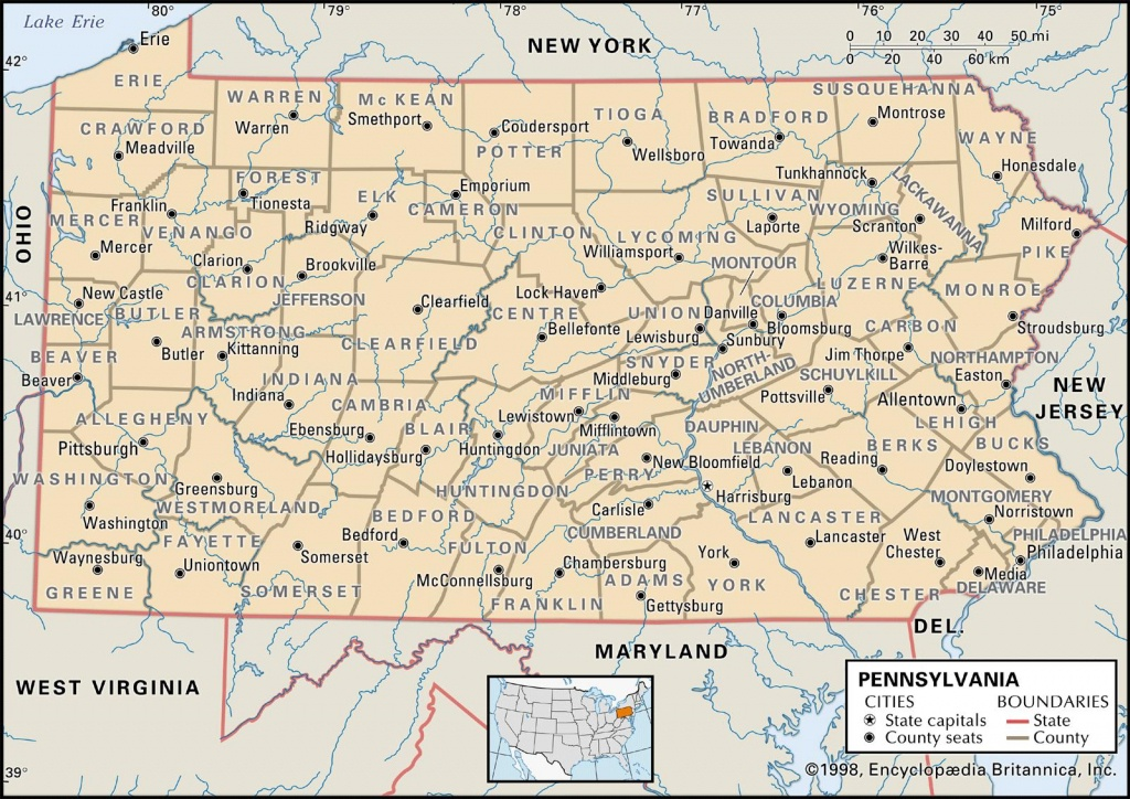 State And County Maps Of Pennsylvania - Printable Road Map Of Pennsylvania