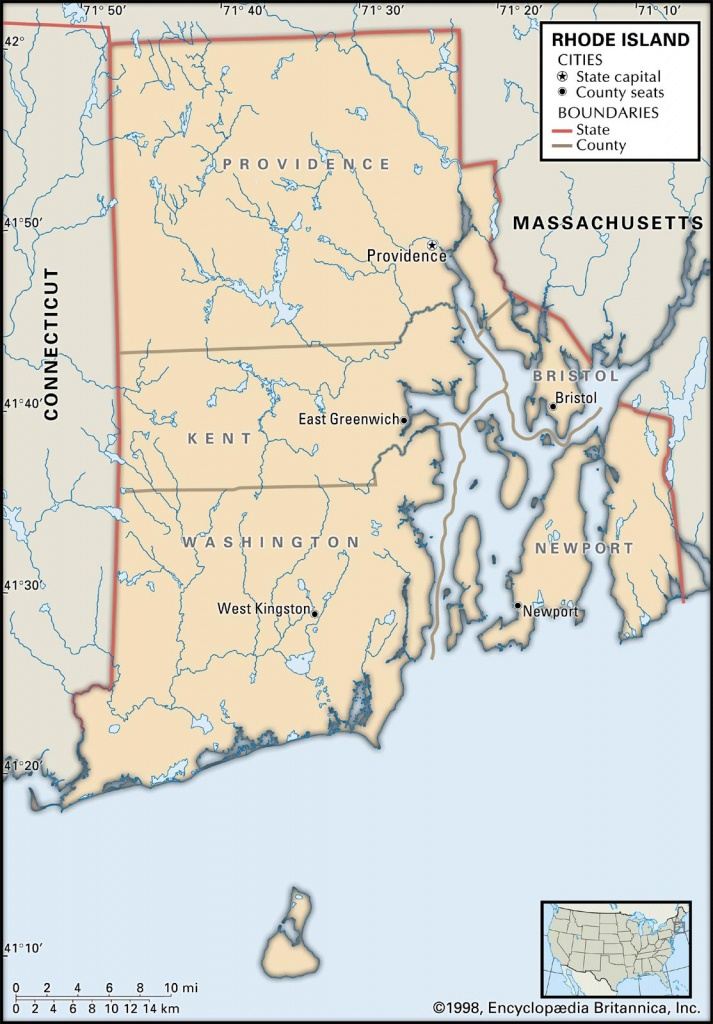 State And County Maps Of Rhode Island - Printable Map Of Rhode Island