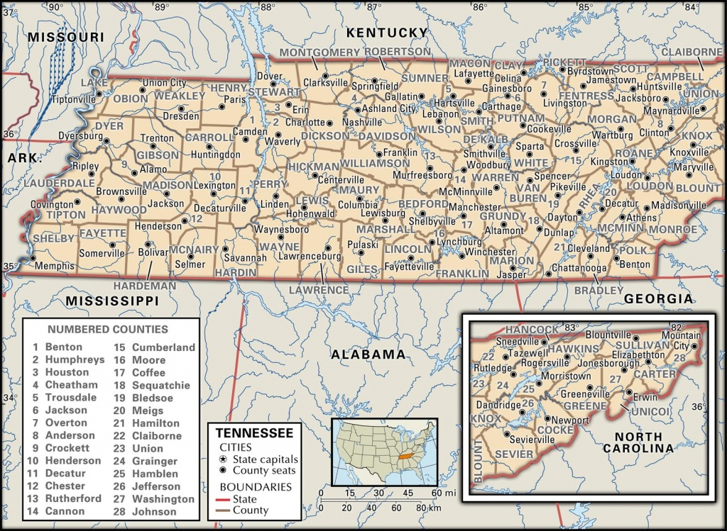 State And County Maps Of Tennessee - Printable Map Of Tennessee Counties And Cities