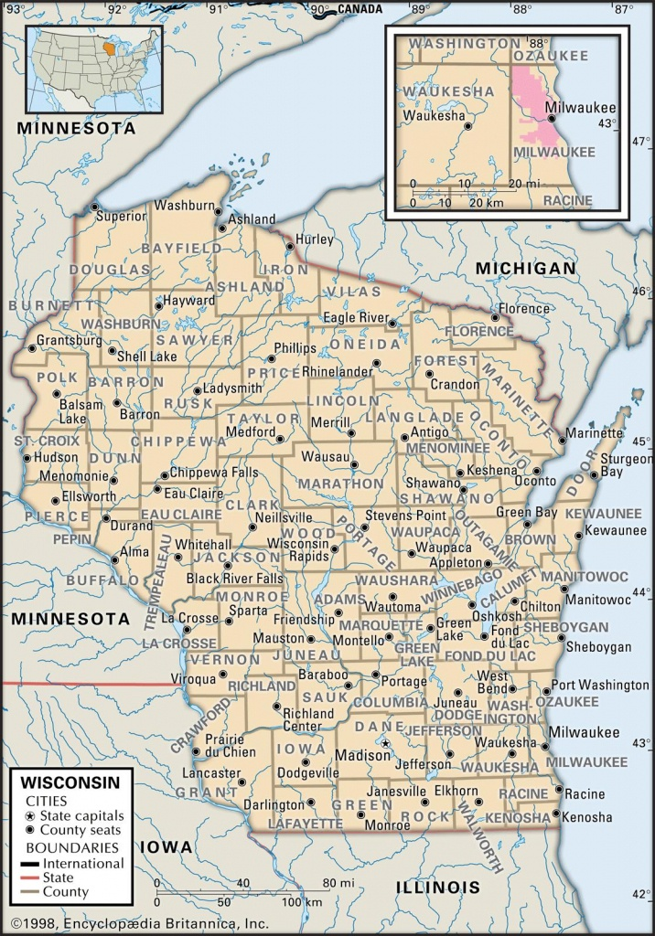 State And County Maps Of Wisconsin - Wisconsin Road Map Printable