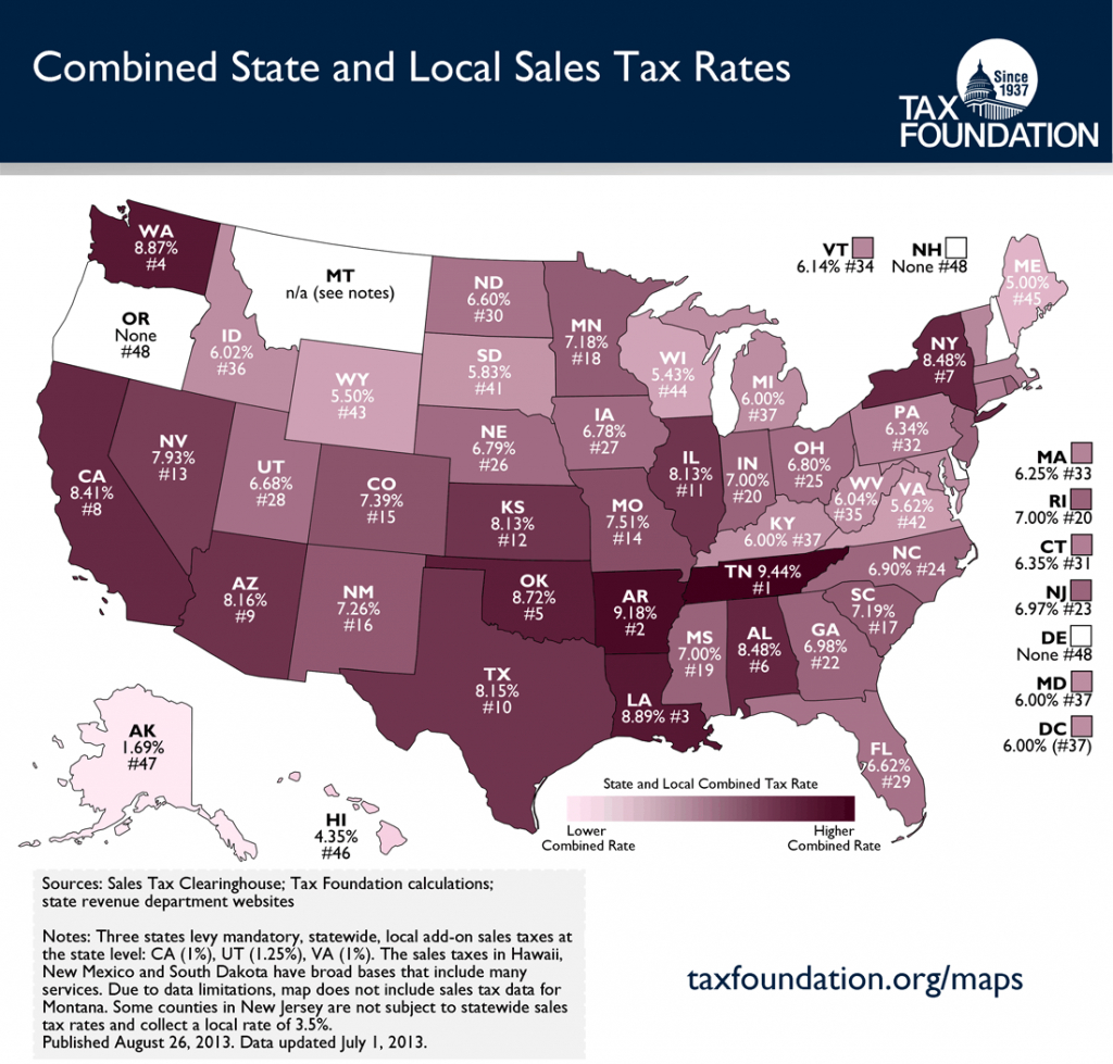 State And Local Sales Tax Rates Midyear 2013 | Tax Foundation - Texas Sales Tax Map