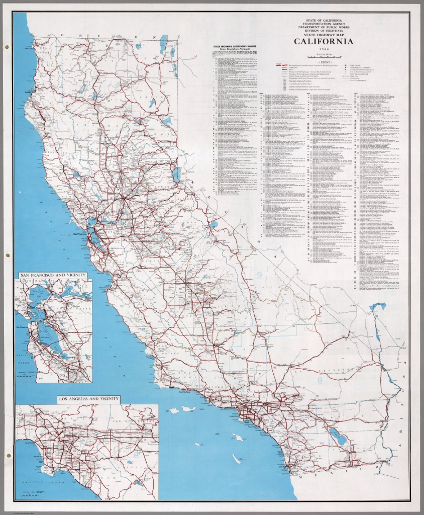 State Highway Map, California, 1966. - David Rumsey Historical Map - Driving Map Of California With Distances