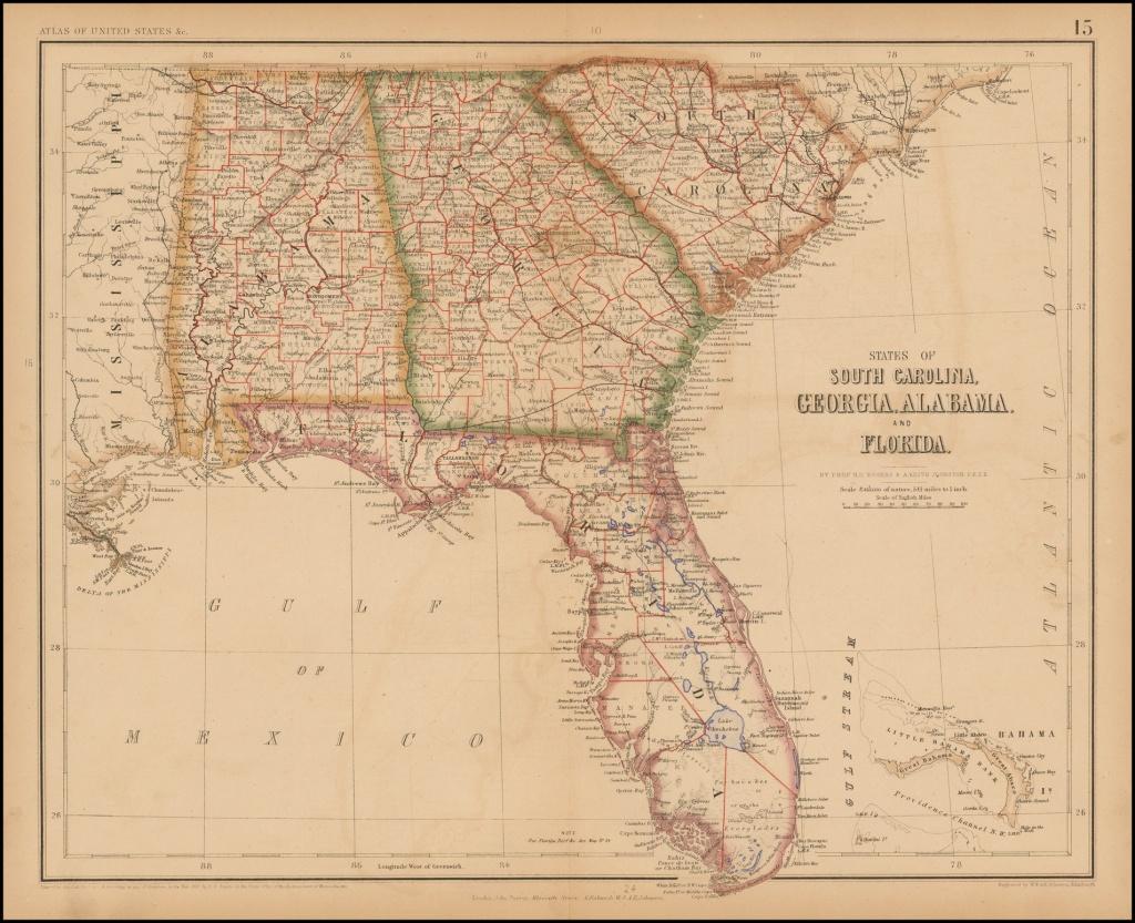 States Of South Carolina, Georgia, Alabama And Florida - Barry - Us Map Of Alabama And Florida