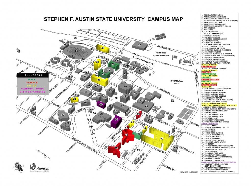 Stephen F Austin State University Campus Map - Nacogdoches Tx - Texas State Dorm Map