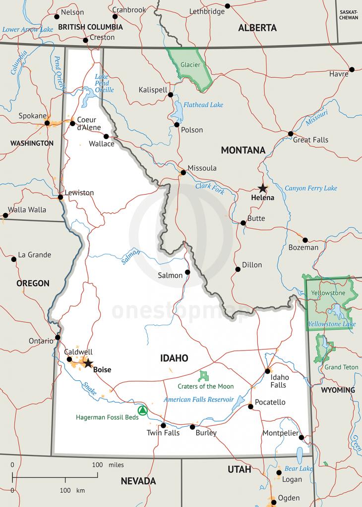 Stock Vector Map Of Idaho | One Stop Map - Printable Map Of Idaho