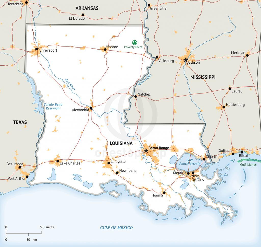 Stock Vector Map Of Louisiana | One Stop Map - Printable Map Of Louisiana