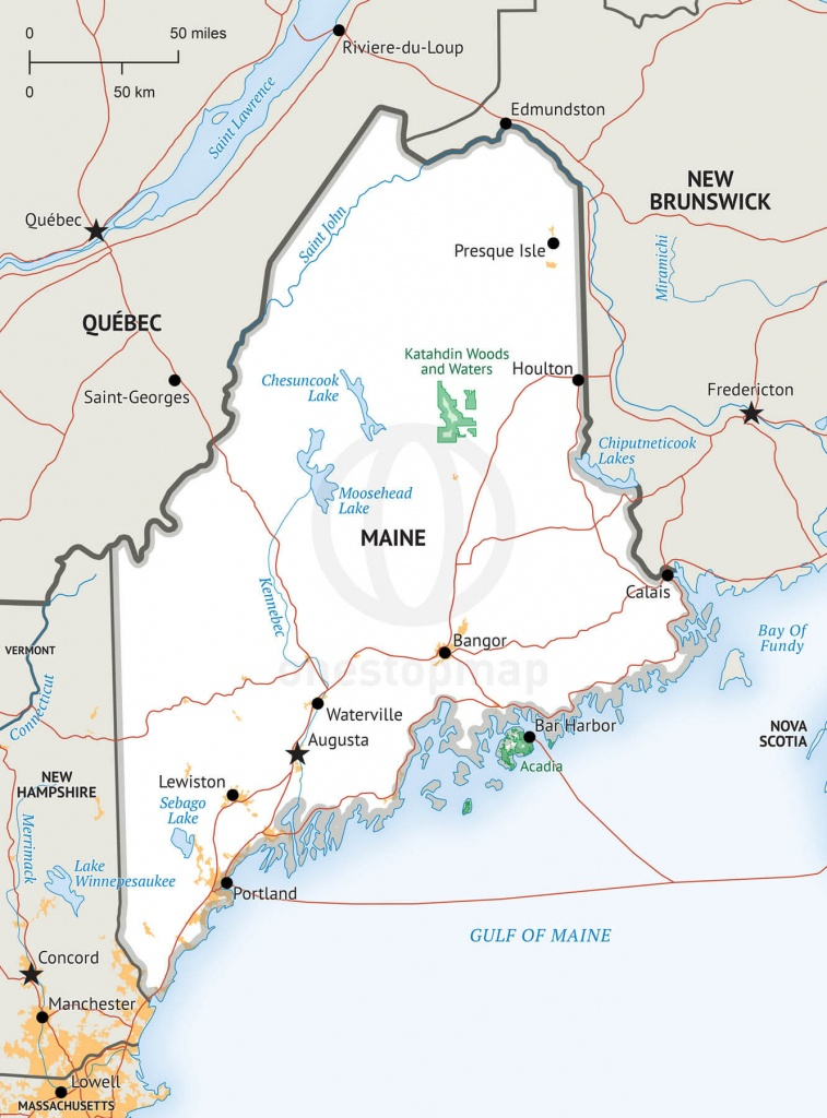 Stock Vector Map Of Maine | One Stop Map - Printable Map Of Maine Coast