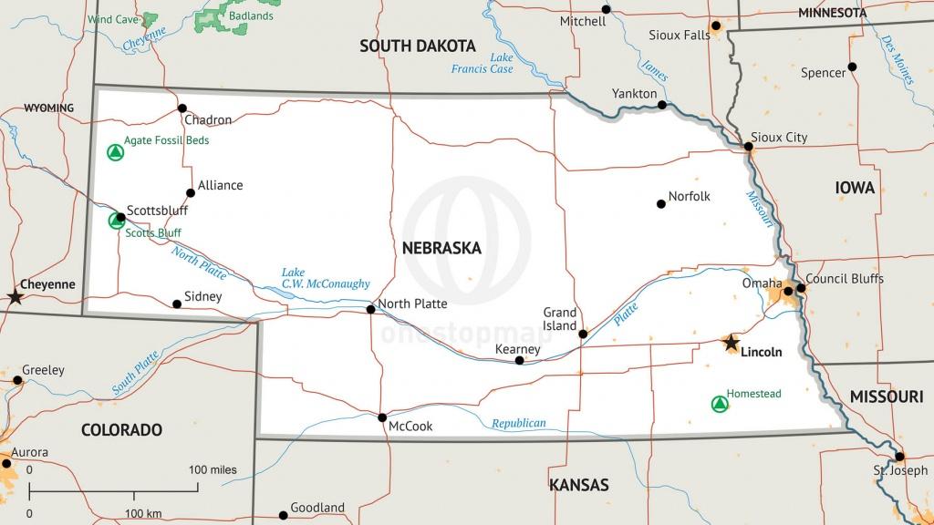 Stock Vector Map Of Nebraska | One Stop Map - Printable Map Of Nebraska