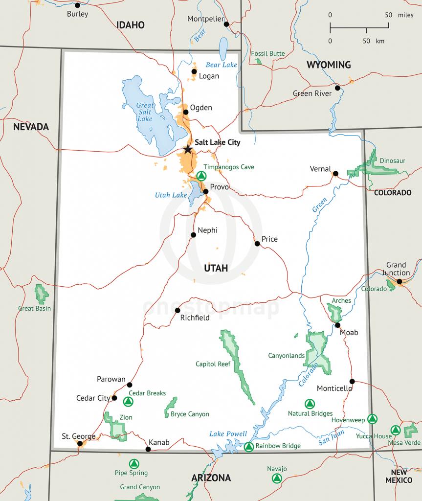 Stock Vector Map Of Utah   One Stop Map - Printable Map Of Utah