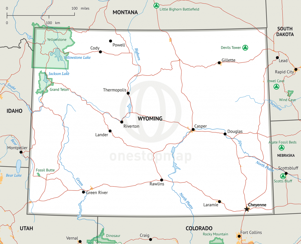 Stock Vector Map Of Wyoming | One Stop Map - Wyoming State Map Printable