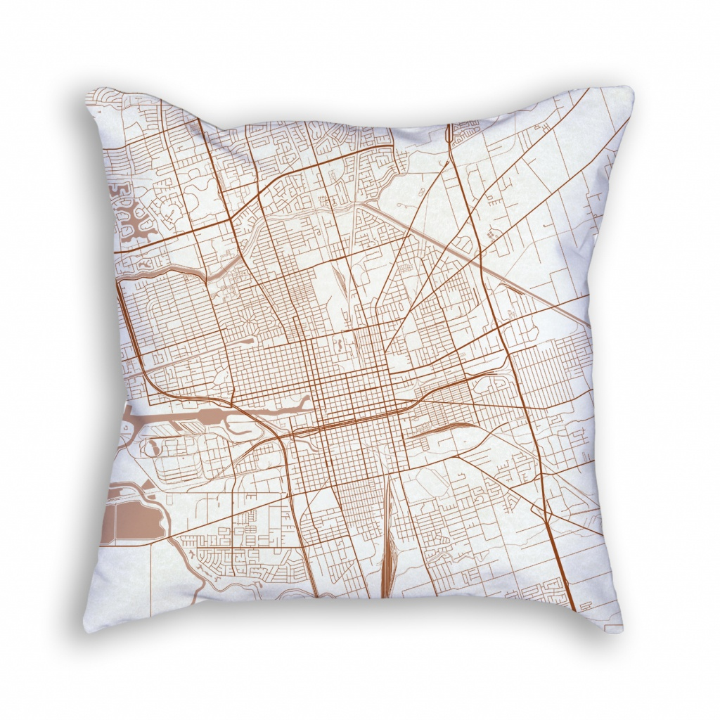 Stockton California Throw Pillow – City Map Decor - California Map Pillow