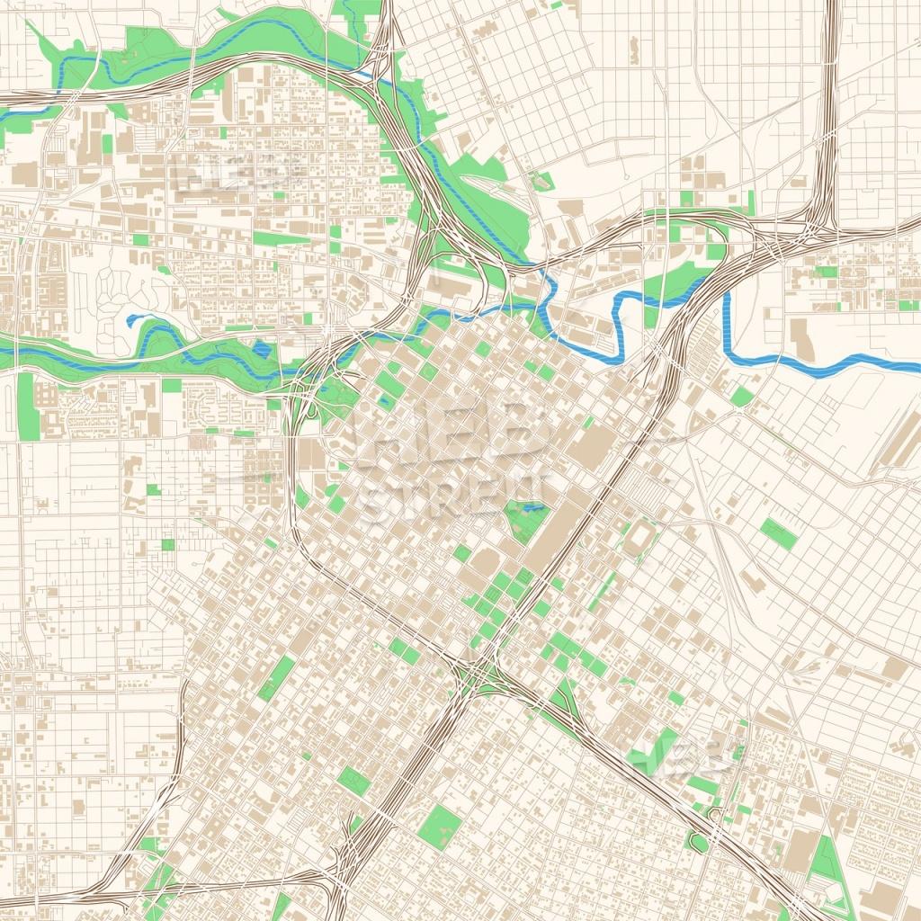 Street Map Of Downtown Houston, Texas | Hebstreits Sketches - Street Map Of Houston Texas