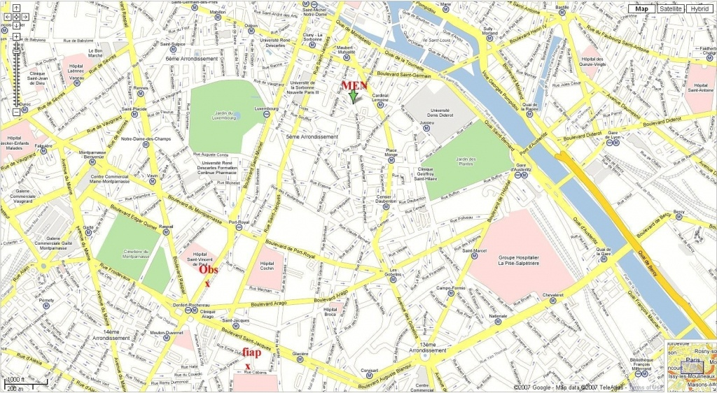 Street Map Of Paris France Printable   World Map - Printable Map Of Paris Arrondissements