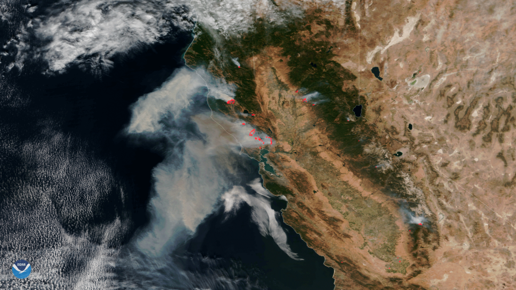 Stunning Satellite Images Of The California Wildfires - Via Satellite - - California Wildfire Satellite Map