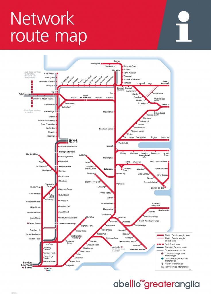 Suffolk On Board - Train / Maps - Printable Map Of East Anglia