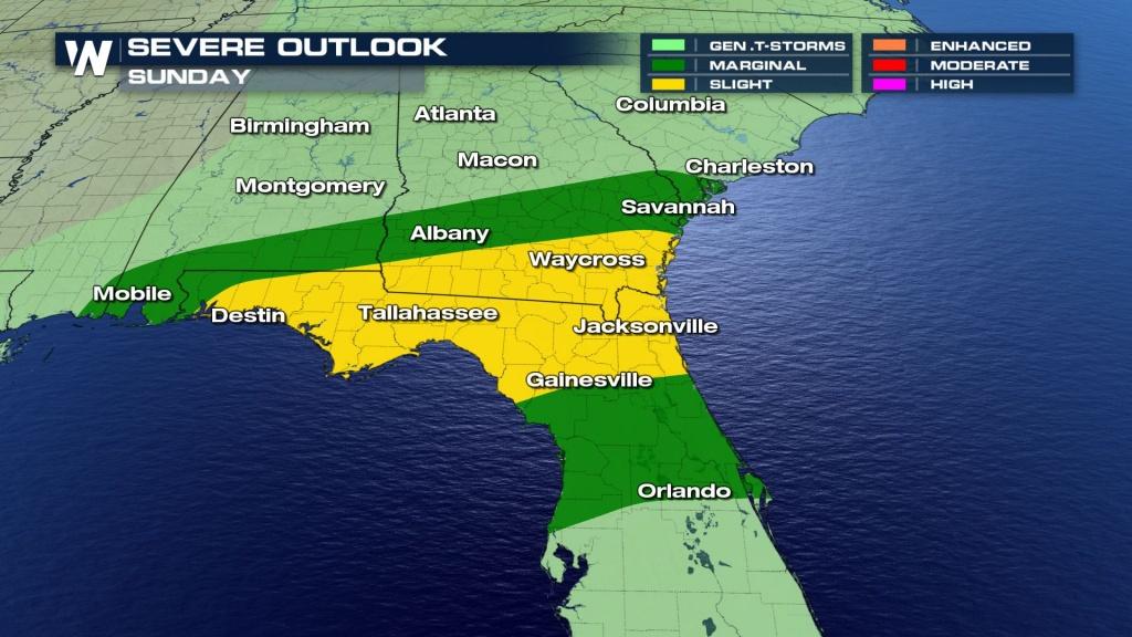 Sunday Severe Weather Chances - Weathernation - Destin Florida Weather Map