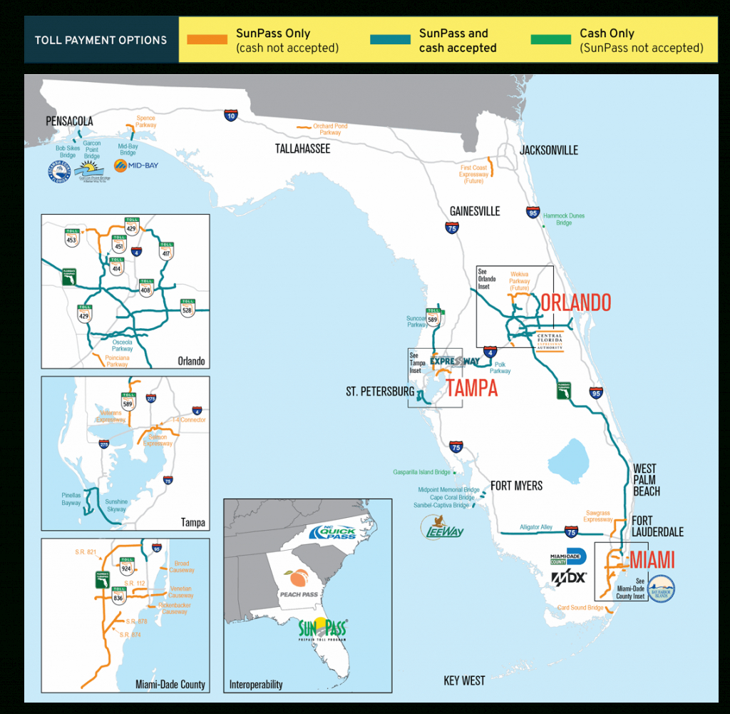 Sunpass : Tolls - Florida Road Map 2018