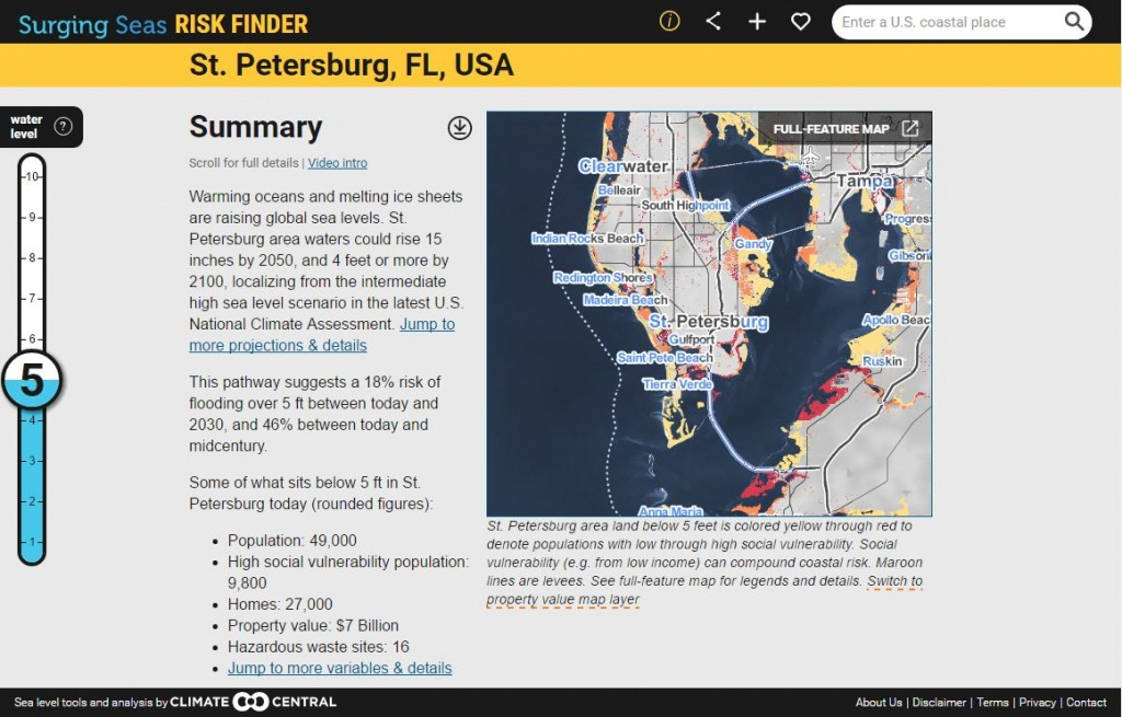 Surging Seas: Sea Level Rise Analysisclimate Central - Florida Global Warming Map