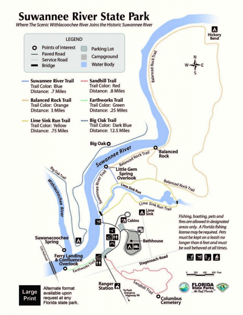 Suwannee River State Park - Visit Natural North Florida - Florida State Campgrounds Map