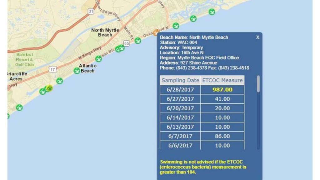 Swim Advisory Issued For High Bacteria Reading In Area Of North - Florida Beach Bacteria Map 2018