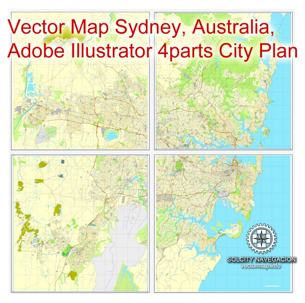 Sydney, Australia In Adobe Pdf, Printable Vector Street 4 Parts City Plan  Map, Fully Editable - Printable Street Map Of Port Macquarie