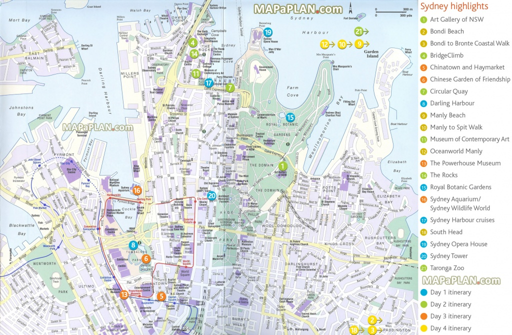 Sydney Maps - Top Tourist Attractions - Free, Printable City Street Map - Sydney City Map Printable