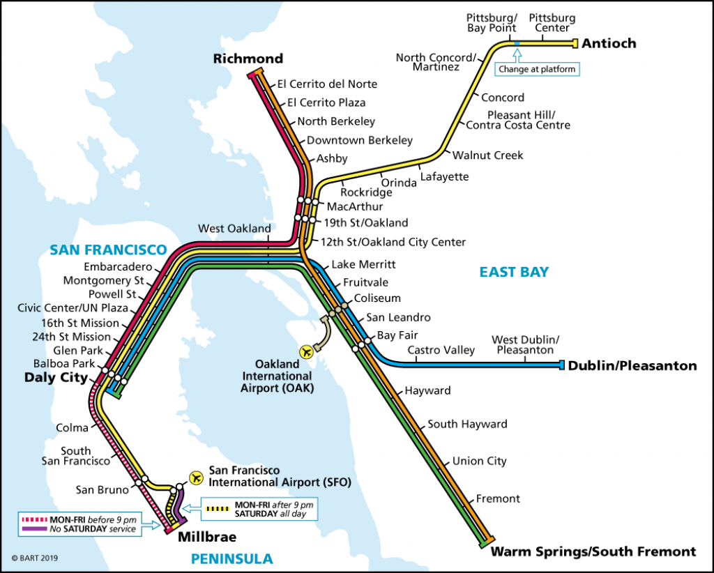 System Map | Bart.gov - Printable Bart Map