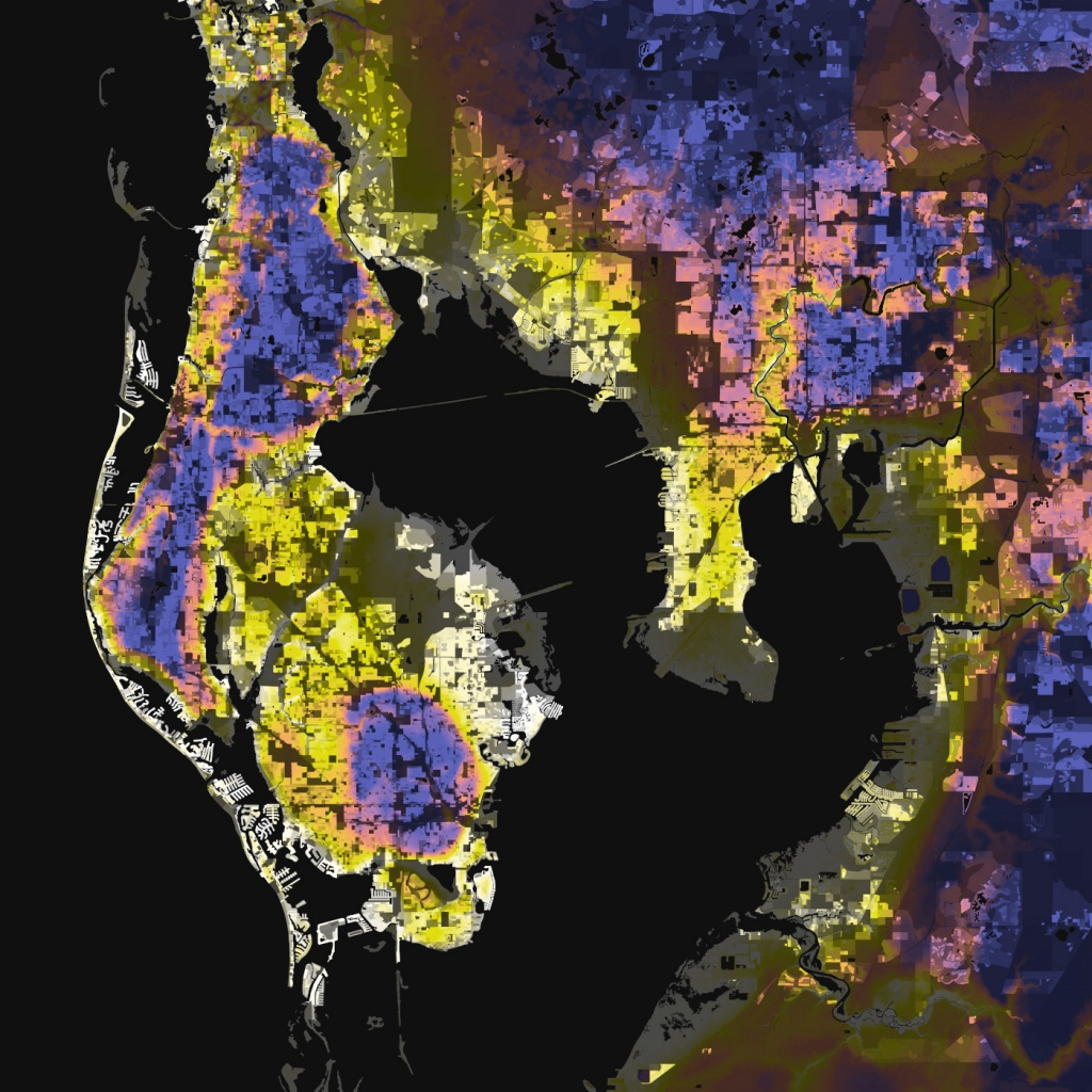 Tampa-St. Petersburg, Florida – Elevation And Population Density, 2010 - Florida Elevation Map