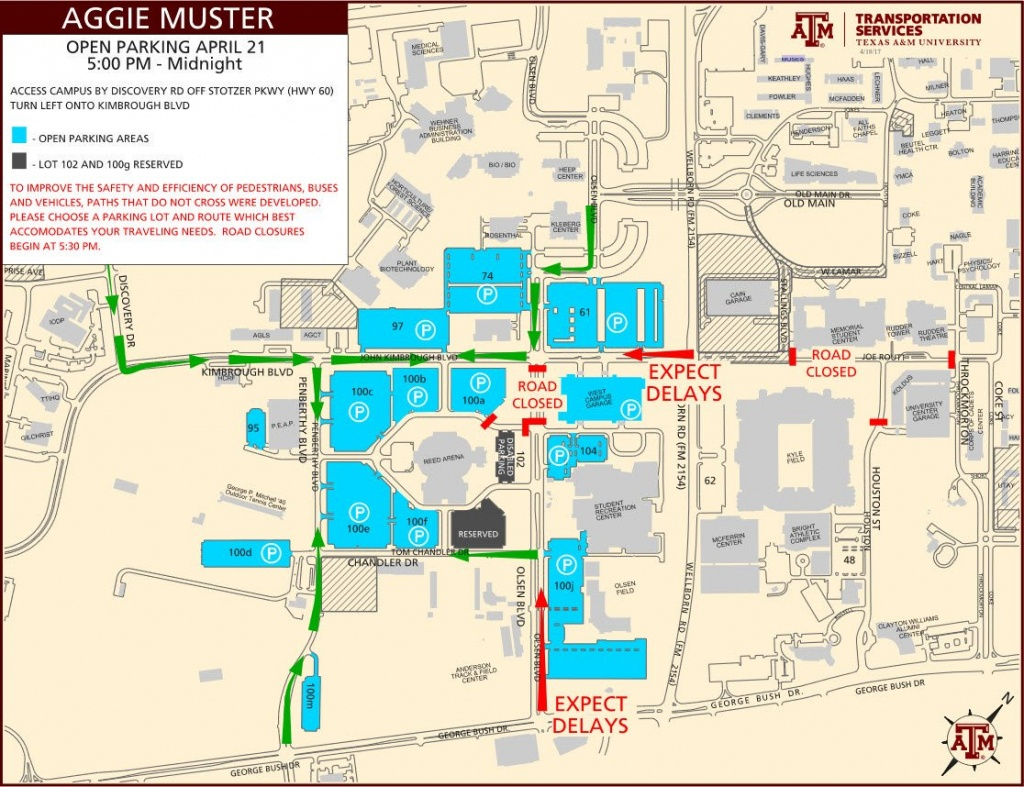 """Tamu Transport Svcs On Twitter: """".@tamu Muster Parking Will Be Open - Texas A&m Parking Map"""