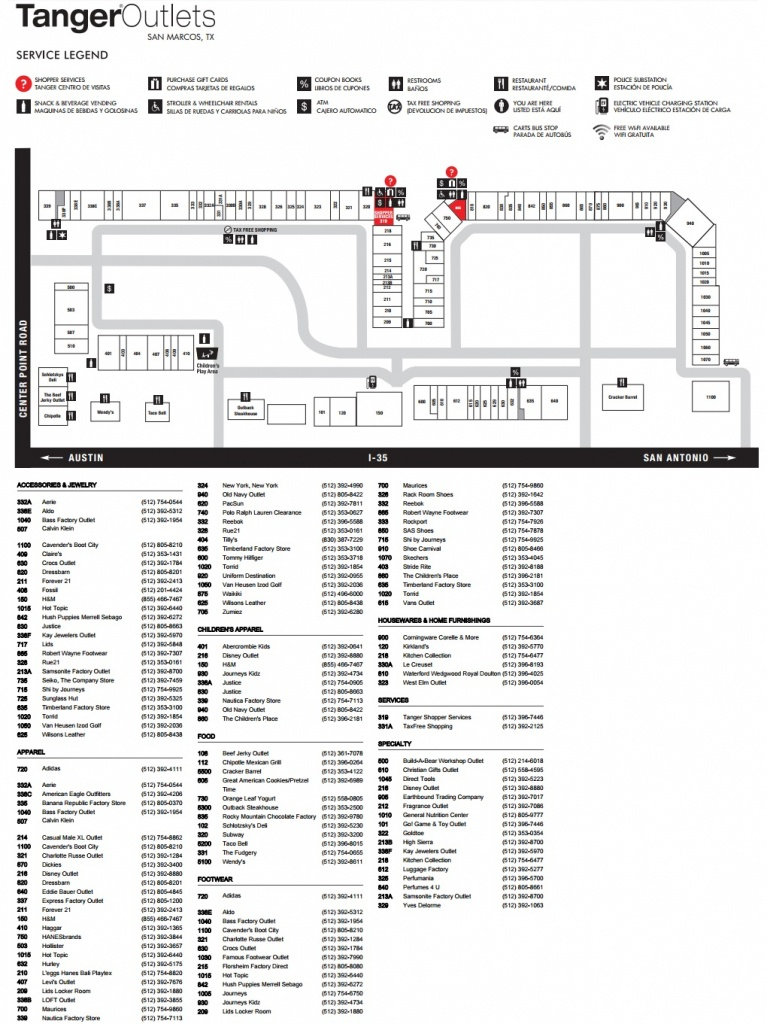 Tanger Outlets San Marcos (103 Stores) - Shopping In San Marcos - Tanger Outlets Texas City Stores Map