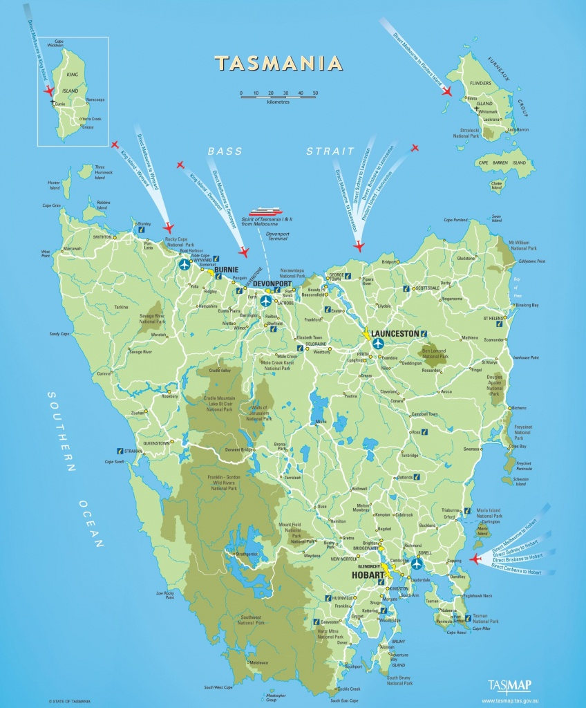 Tasmania Maps | Australia | Maps Of Tasmania (Tas) - Printable Map Of Tasmania