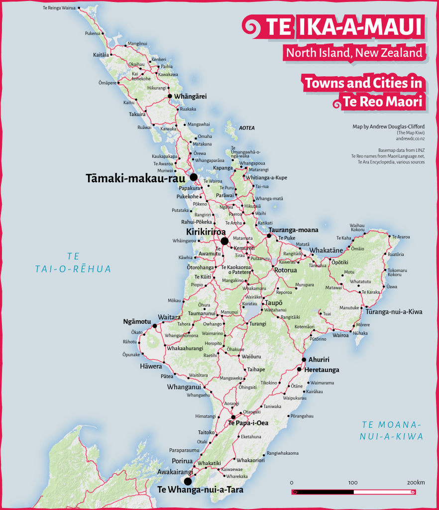 Te Ika-A-Maui: Te Reo Map Of The North Island's Towns And Cities - New Zealand North Island Map Printable