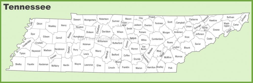 Tennessee County Map - Printable Map Of Tennessee