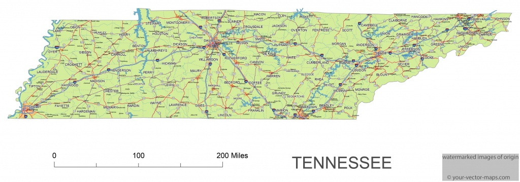 Tennessee State Route Network Map. Tennessee Highways Map. Cities Of - Printable Map Of Tennessee Counties And Cities