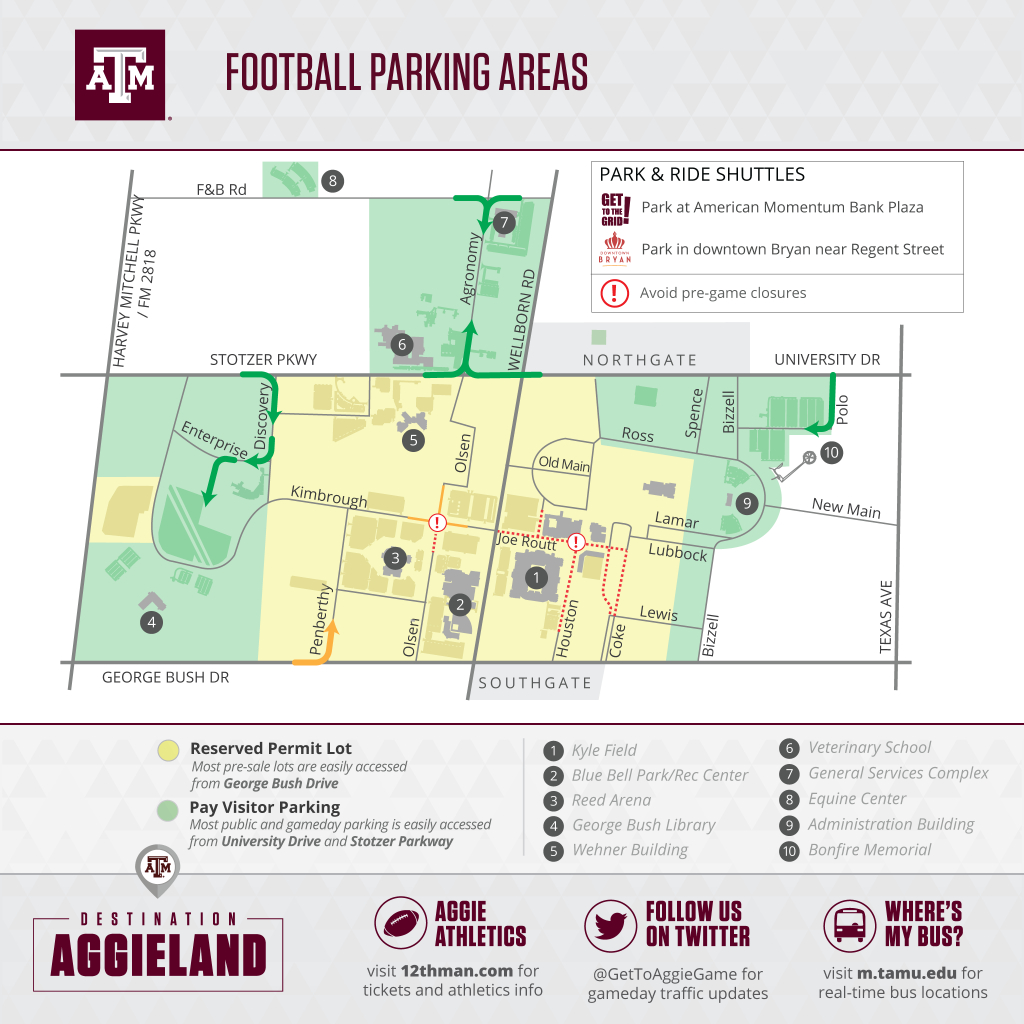 Texas A&m Football Gameday - 12Thman - Texas A&m Location Map