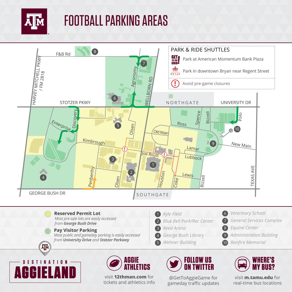 Texas A&m Football Gameday - 12Thman - Texas A&m Parking Map