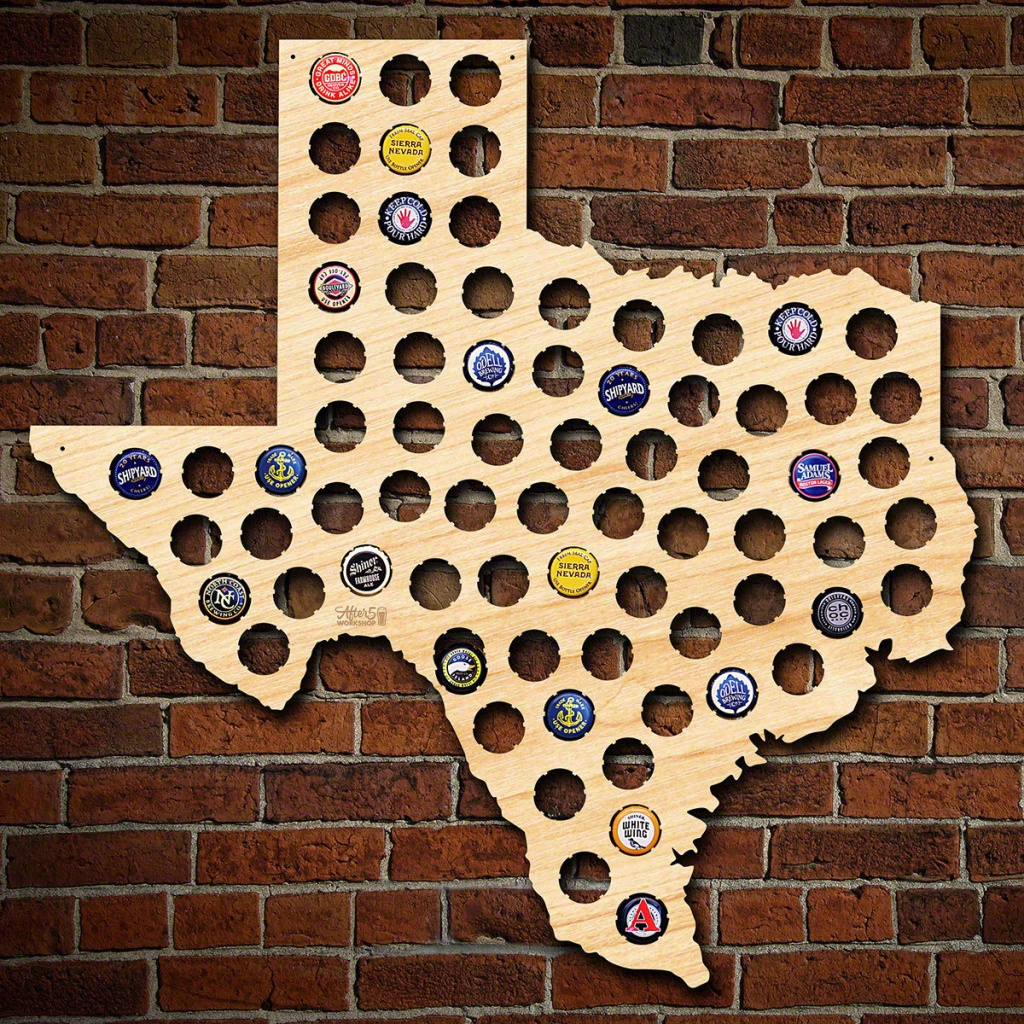 Texas Beer Cap Map Made Of Beautiful Birch Wood Tx Beer | Etsy - Texas Breweries Map