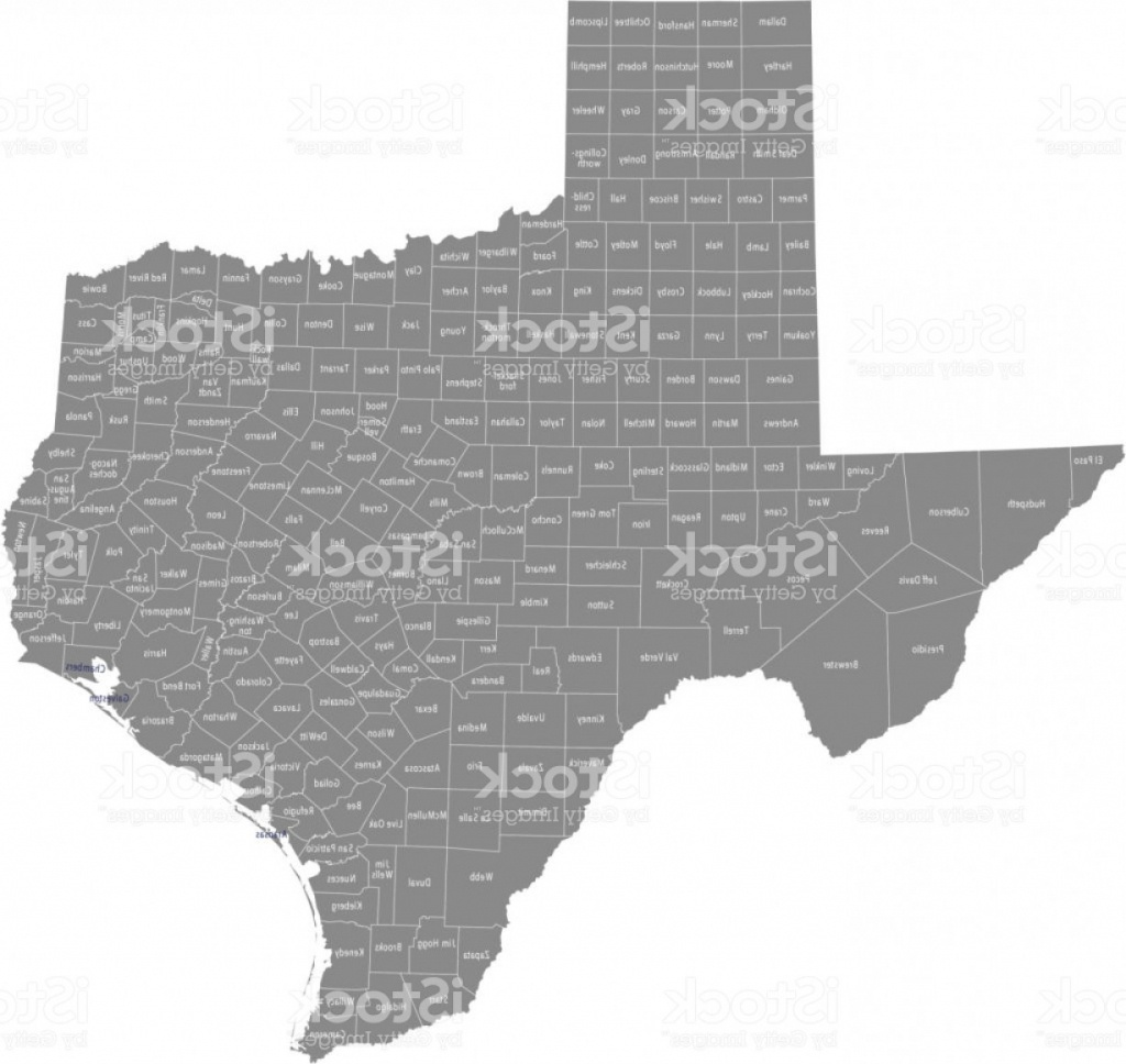 Texas County Map Vector Outline With Counties Names Labeled In Gray - Texas County Map Vector