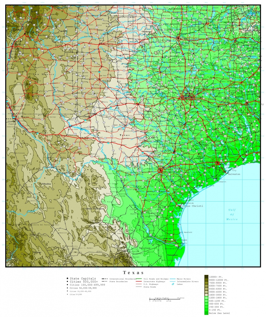 Texas Elevation Map - Florida Land Elevation Map